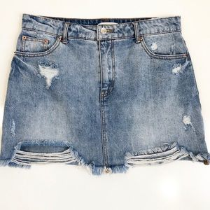 Forever 21 | Denim Ripped Distressed Mini Skirt